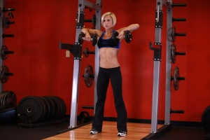 Standing Upright Dumbell Row